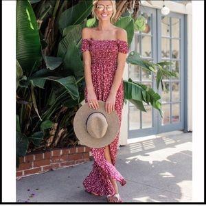 Dresses - SALE!! Red maxi floral dress slit off the shoulder